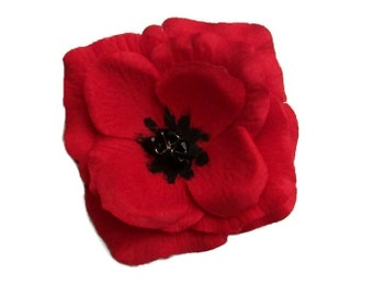 Red Poppy Brooch Poppy Hair Clip Poppy Hair Pin Clip Accessory Remembrance Poppy Brooch Handmade
