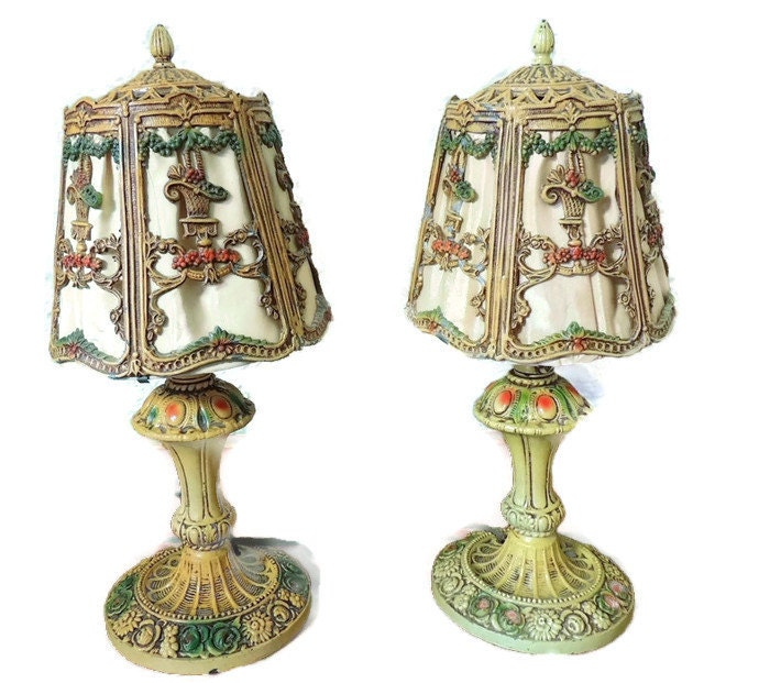Ornate IRON Table Lamps COTTAGE Chic Deco Era FLOWER Baskets