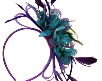 Purple & Teal Fascinator on Headband Alice Band Wedding Ascot Races Loop Net