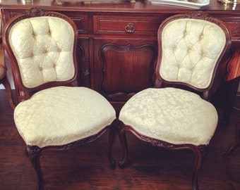 Vintage French armless chairs