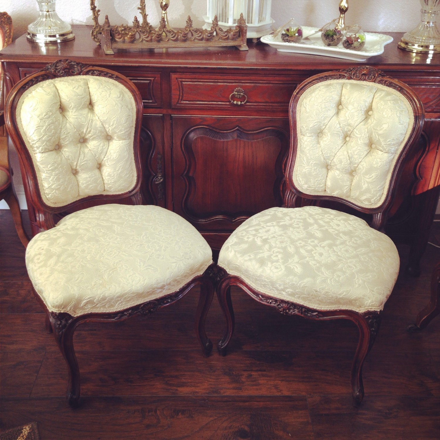 Vintage French Armless Chairs By MadebyTuyen On Etsy