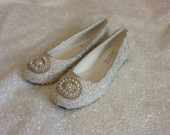 Plus Size Wedding Shoes Bridal Flats Beaded Rhinestones Hand Embellished  Size 10,11,12
