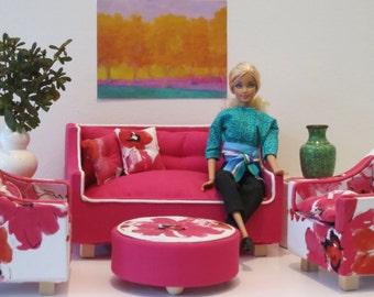 Barbie Magenta Linen Sofa