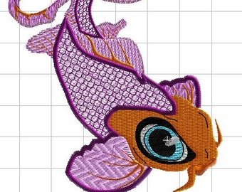 Mylar Embroidery design Koi fish 4in hoop