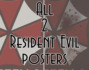 2 Resident Evil inspired Before and After Apocolypse Umbrella Corporation Video Game Art Posters Prints