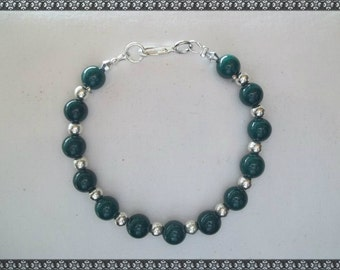 green bracelet, dark green bracelet, silver bracelet, dark green, forest green