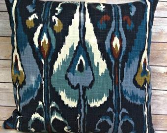 Ikat Pillow Cover, Robert Allen Indigo blue colorful throw pillow cover, decorative pillow cover