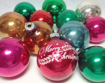 SALE Box Vintage CHRISTMAS Multi Color Mercury Glass Style Ornaments Merry Red Printed Shiny Brite Retro Mod Style Holiday Decor 60's 70's
