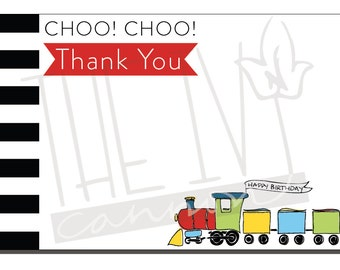 THANK YOU Choo! Choo! Train Corresponding Train Birthday Thank You Card