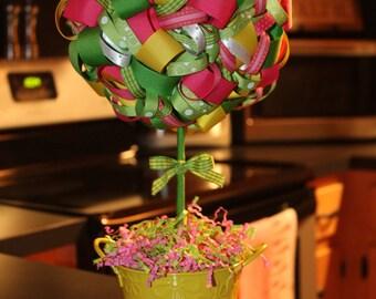 Pink John Deere Ribbon Topiary - pink, green, yellow