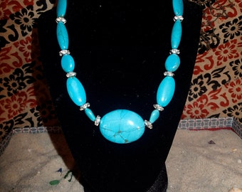 Turquoise and Silver Disc Necklace 19""