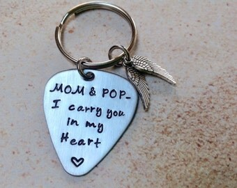 Stamped stainless steel guitar pick keepsake in memory of a loved one