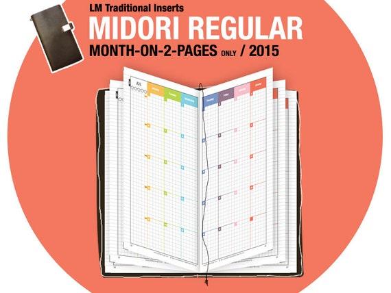 2015 MO2P Midori / month-on-2-page / MTN / Midori Traveler's Notebook ...