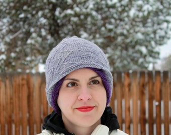 Reversible purple and grey hat