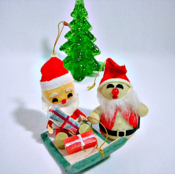 Lot Of 5 Vintage Christmas Decorations Kitsch Santa Claus: Vintage Christmas Ornaments 1970's Kitsch Santa Claus