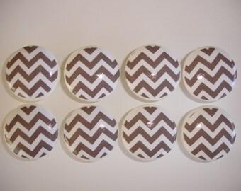 Gray and White Chevron Dresser Drawer Knobs--Set of 8