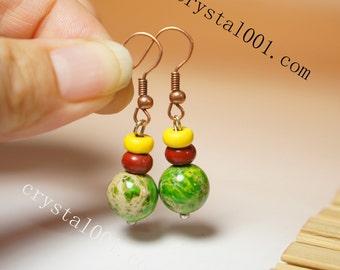 Green Stone Earrings Sea Sediment Earrings Copper Dangle Stone Earrings