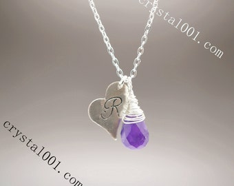 Natural amethyst necklace personalized monogrammed initial necklace named necklace heart charm silver necklace amethyst healing necklace
