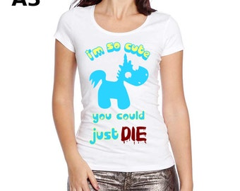 White T-shirt for Women - Cute Unicorn - Slash - Printing format A3 or A4