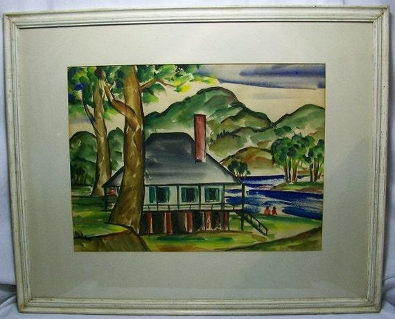 Primitive Pennsylvania Folk Art Watercolor Painting Rustic Country Home Original Signed Margaret Sarah Lewis 1939