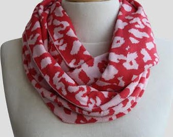 Coral and Blush Pink Leopard  Knitted Infinity Loop Scarf