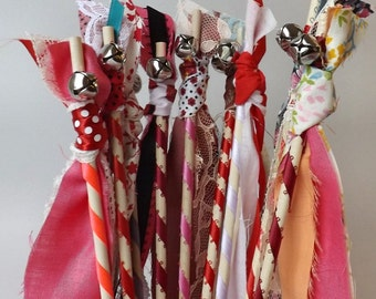 12 Valentine Bell Wands, Pink and Red Fabric Streamers, Wedding Send Off, Birthday Party Favors, Boho Party Decor