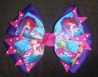 Little Mermaid Ariel Handmade Boutique Bow