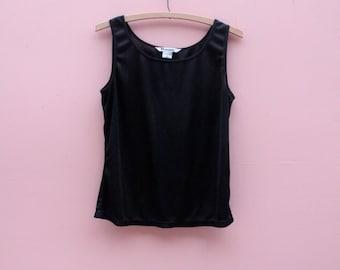 Shark Tank Vintage Sleeveless Basic in Midnight Black ~CLEARANCE ~ Womens Medium Top Slinky Shift Modern Basic