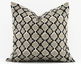 Black and Gray Pillow Cover, Decorative Pillows, 20x20 Pillow Covers, Modern Geometric Pillow, Accent Cushion Cover, Gemstone Mercury Macon