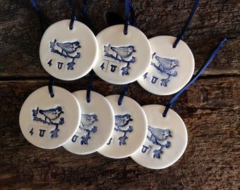 Set of 7 Gift Tags - Bird on Branch, 4U, Cobalt Blue and White, Handmade