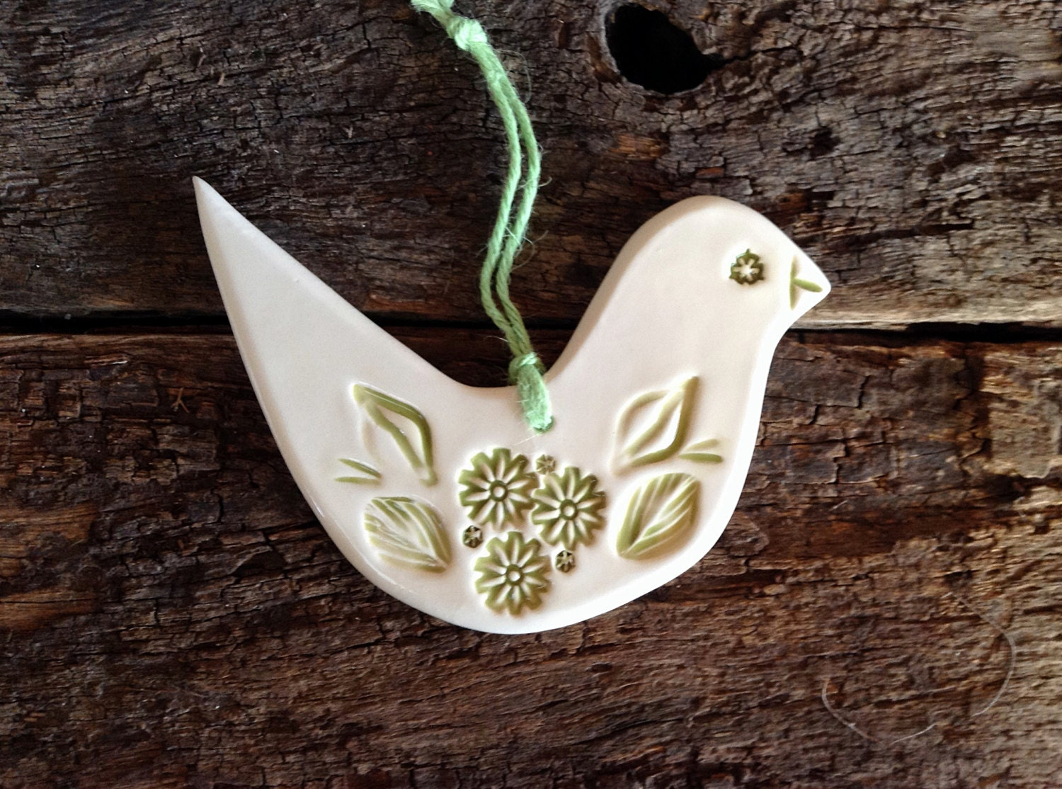 Ceramic Decorative Bird Handmade - Dove Green and White, Wall, Garden Decoration