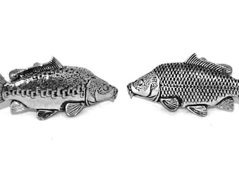 Carp Fishing (Mirror & Common Carp) Cufflinks, handmade in Fine English Pewter, Gift Boxed (angling)