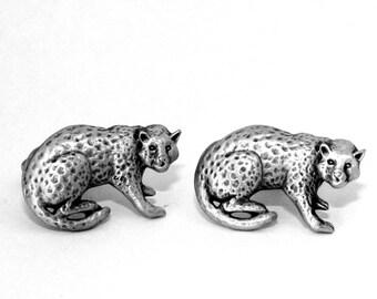Leopard Cufflinks by Hoardersworld, Handmade, Wild Cat (hin)