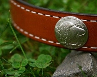 Buffalo Nickel Leather Dog Collar (22-24)