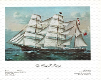 """Clipper Ship Book Plate. """"The Kate F. Troop"""". 1967."""