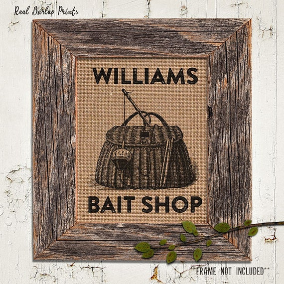 Burlap Print | Personalized | Tackle Box | Vintage Illustration | Fishing Basket | Bait Shop |#0016