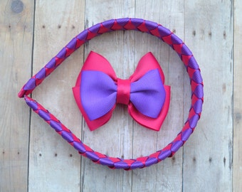 Pink and purple headband for girls, woven headband with removable bow,