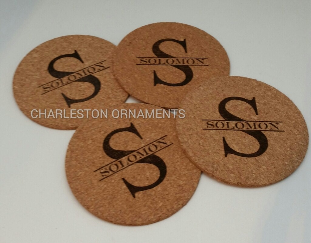 Set Of 4 Cork Coasters Personalized Coasters By
