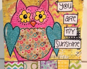 Owl Canvas Painting, You are my Sunshine