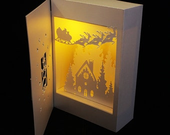3D SVG Shadow Box Lantern Snowman