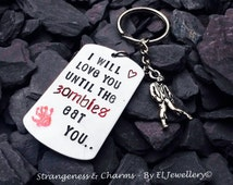 Hand stamped 'Zombies' Aluminium Dog Tag Keyring, Valentines Gift, Walkers, Zombie Apocalypse, Stamped Metal, Keychain, Dog Tag, Handmade.