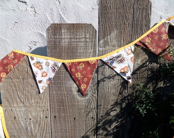 Whimsical Fall/ Autumn Bunting REVERSIBLE Shabby Chic OOAK