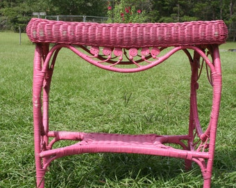 Antique,Ornate,Vintage,table,Shabby chic,Bright Hot pink,wicker side,sofa table,dresser,vanity,Shabby Cottage Chic,Chippy Peeling Paint