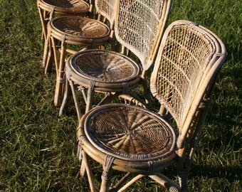 Vintage,possibly Antique,set Of Four,hand Made,weathered Wicker Chairs,