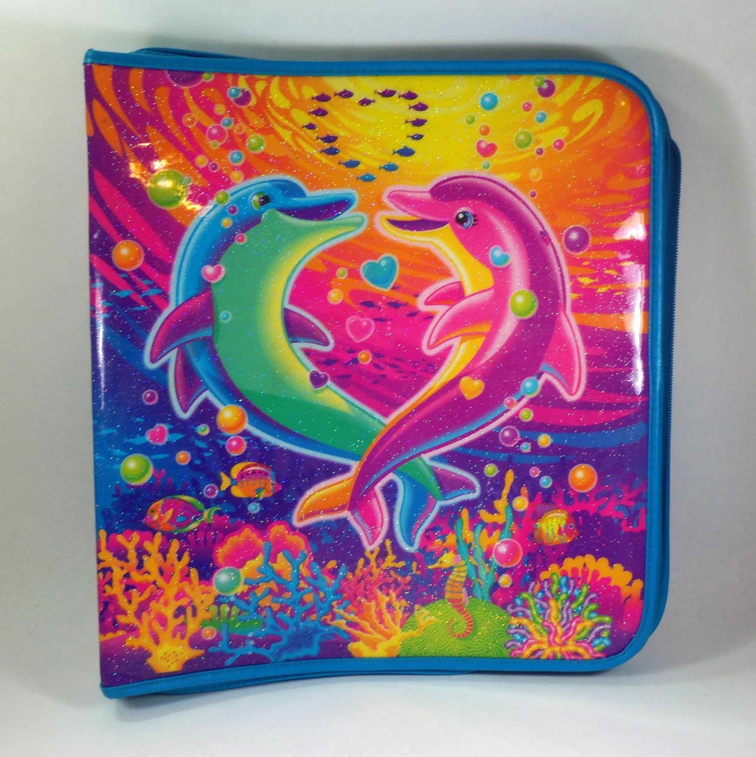 Lisa Frank 3 Ring Zipper Binder Used Dolphin By