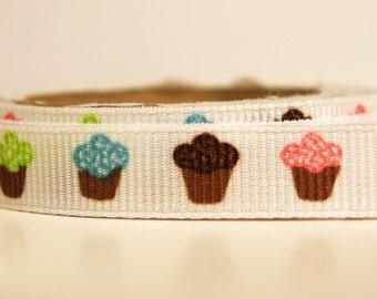 "5 yards of 3/8 inch ""Cupcakes"" grosgrain ribbon"