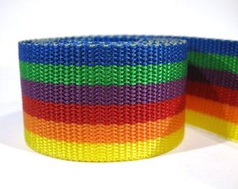 3 yards of 1.5 inch / 38mm rainbow webbing, strap (WB22)