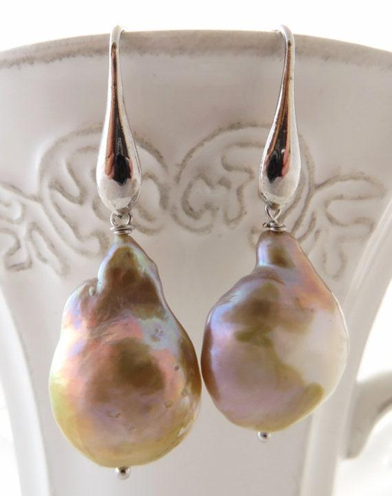 Baroque pearl earrings flameball pearl earrings sterling silver 925