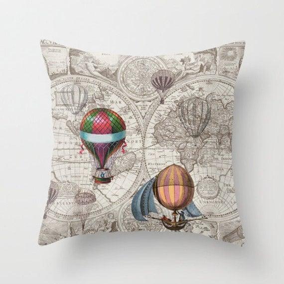 Hot Air Balloon Pillow - Throw Pillow maps , steampunk decor, Vintage Maps, unique, brown