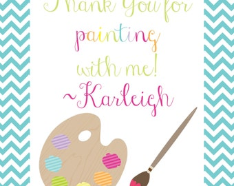 Girl Painting Party with Artist Palette Favor Tags